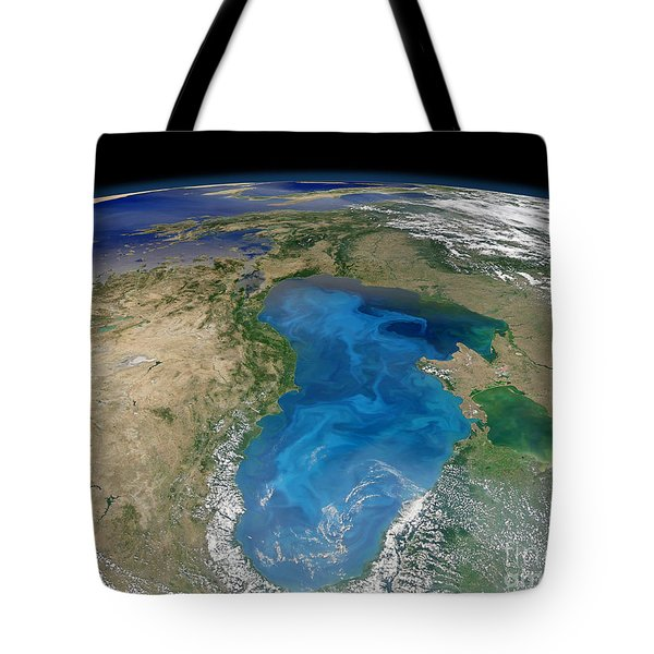 Satellite View Of Swirling Blue Tote Bag by Stocktrek Images