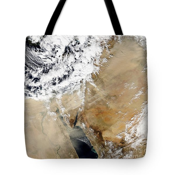 Satellite View Of The Eastern Tote Bag by Stocktrek Images