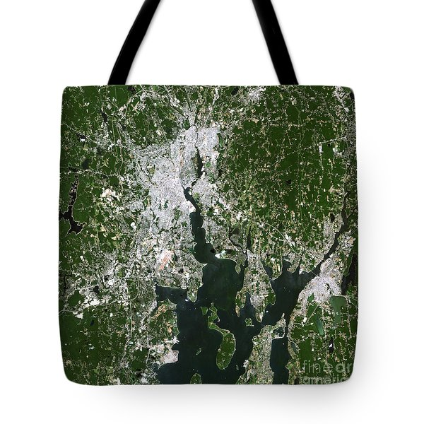 Satellite View Of The Pawtucket Tote Bag by Stocktrek Images