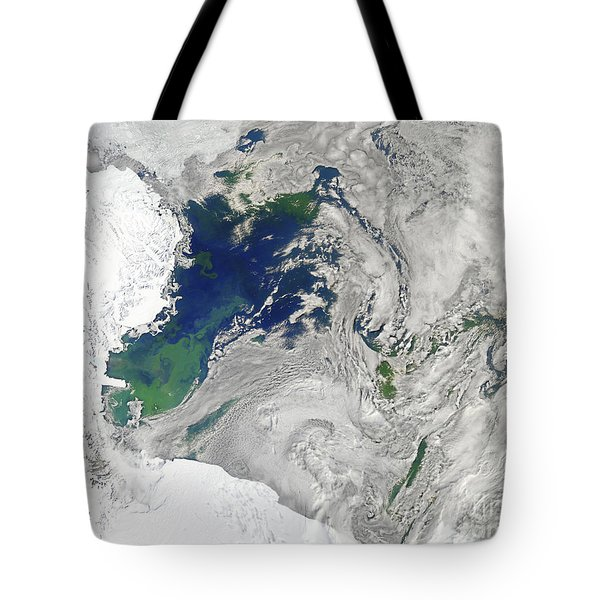 Satellite View Of The Ross Sea Tote Bag by Stocktrek Images