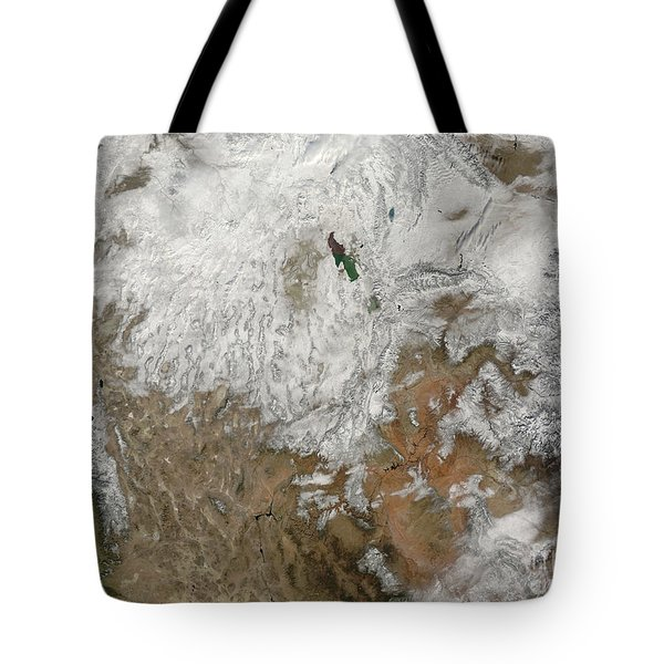 Satellite View Of The Western United Tote Bag by Stocktrek Images