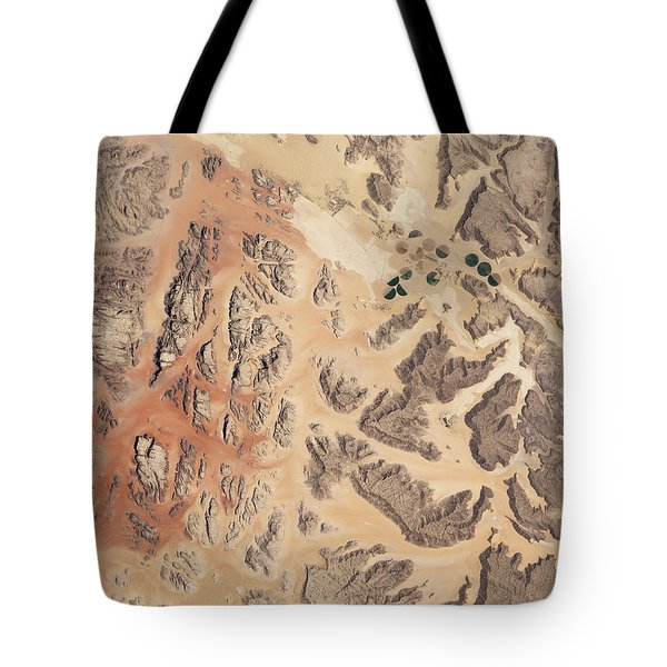 Satellite View Of Wadi Rum Tote Bag by Stocktrek Images