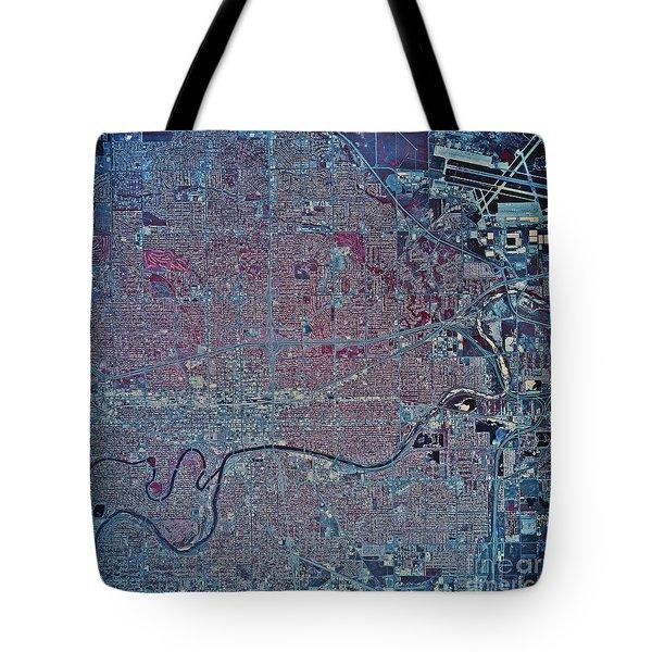 Satellite View Of Wichita, Kansas Tote Bag by Stocktrek Images