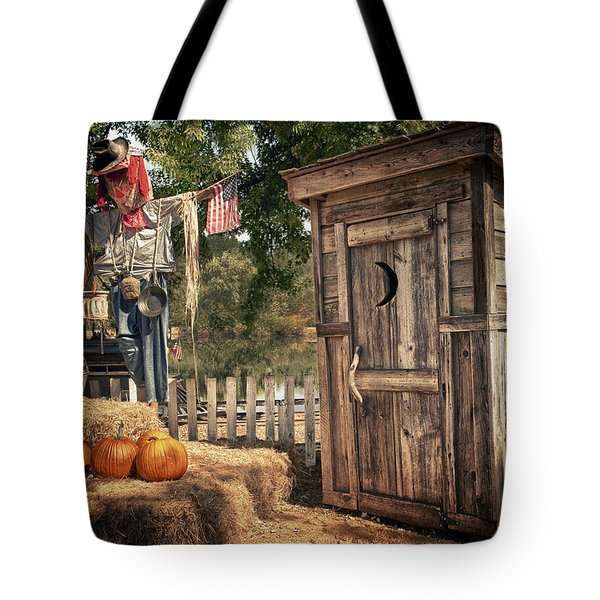 Scared Outhouse Tote Bag by Vincent Cascio