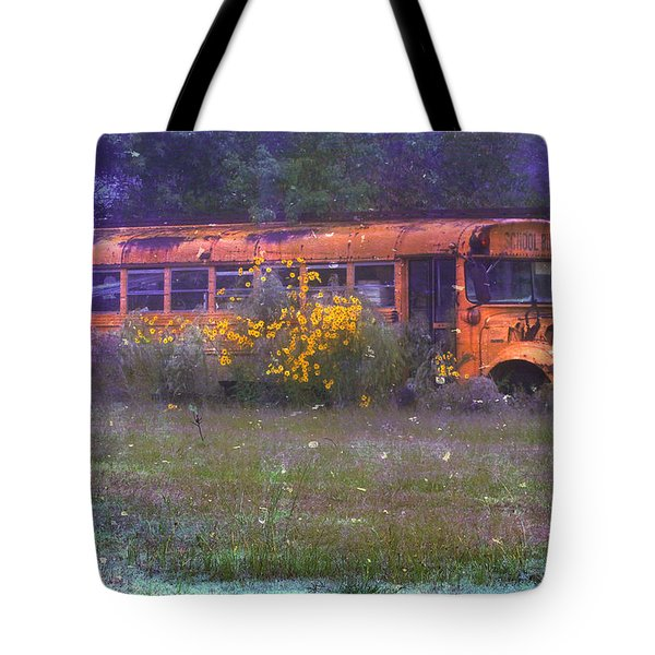School Bus Out to Pasture Tote Bag by Judi Bagwell