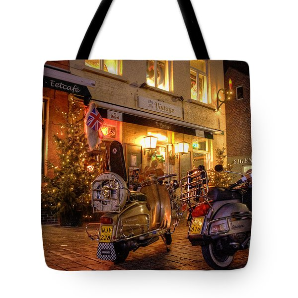 Scooters At The Bistro Tote Bag by Rob Hawkins