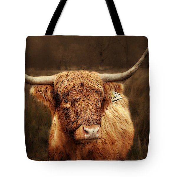 Scottish Moo Coo - Scottish Highland cattle Tote Bag by Christine Till