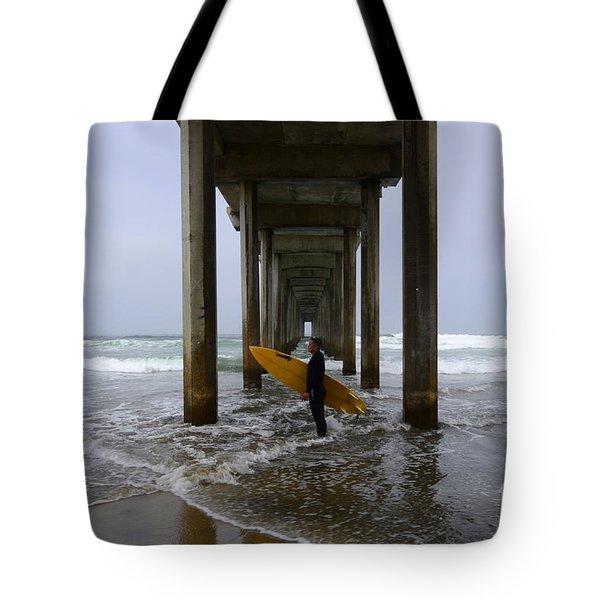 Scripps Pier Surfer 2 Tote Bag by Bob Christopher