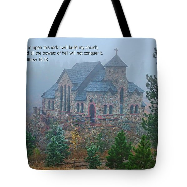 Scripture And Picture Matthew 16 18 Tote Bag by Ken Smith