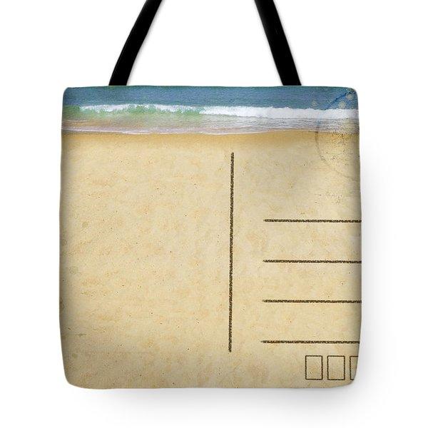 Sea Beach On Postcard Tote Bag by Setsiri Silapasuwanchai