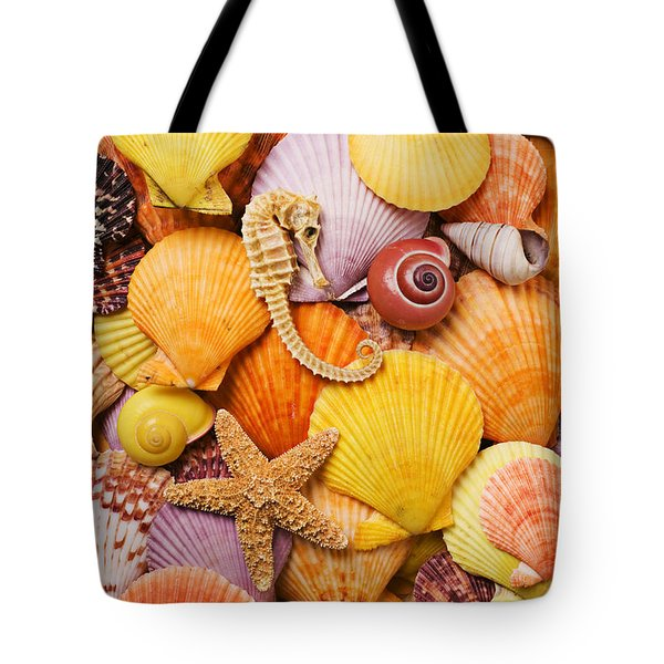 Sea horse starfish and seashells  Tote Bag by Garry Gay
