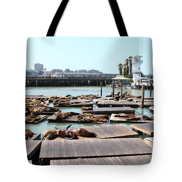 Sea Lions At Pier 39 San Francisco California . 7d14309 Tote Bag by Wingsdomain Art and Photography