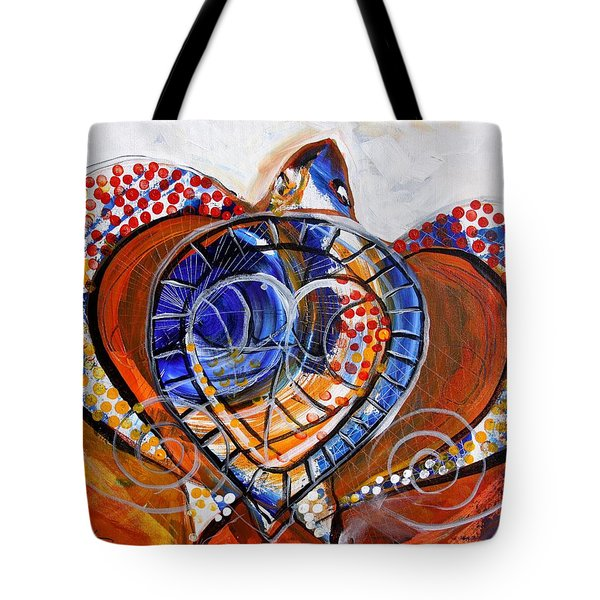 Sea Turtle Love - Orange And White Tote Bag by J Vincent Scarpace