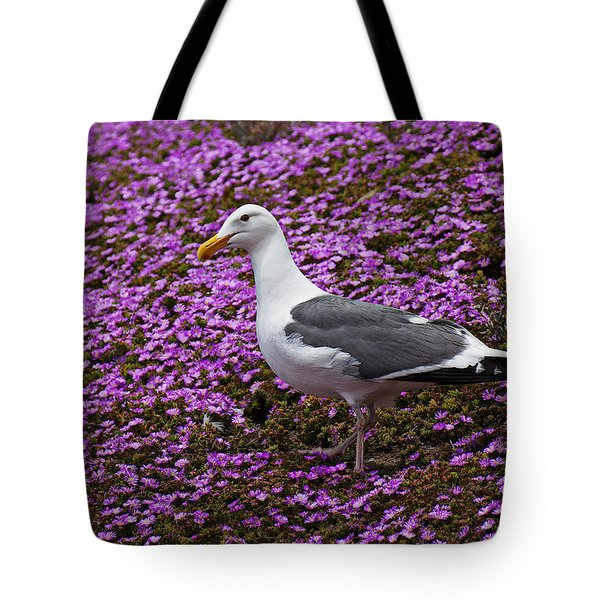 Seagull Standing Among Flowers Tote Bag by Garry Gay