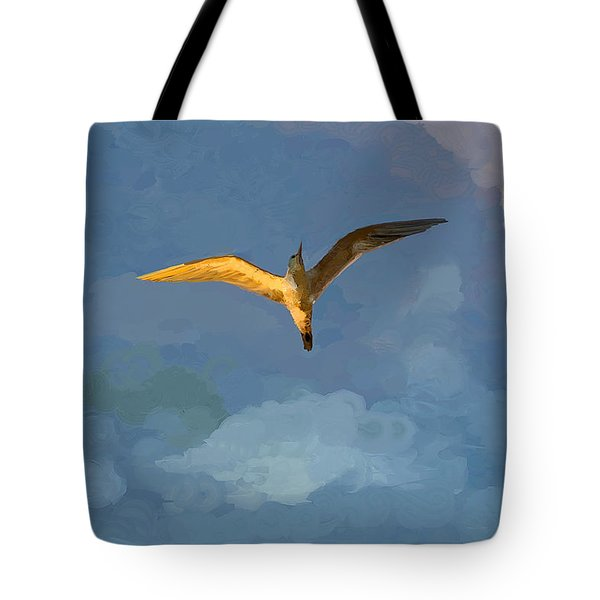Seagull Sunrise Tote Bag by Miguel Pumarejo