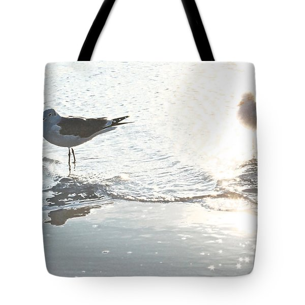 Seagulls In A Shimmer Tote Bag by Olivia Novak