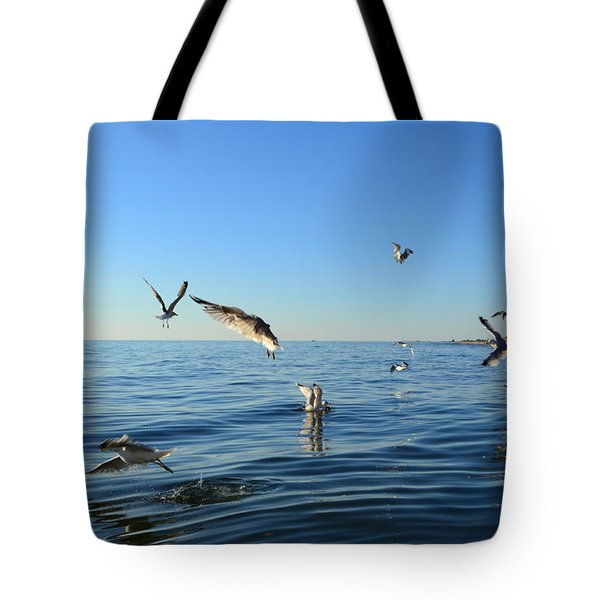 Seagulls Over Lake Michigan Tote Bag by Michelle Calkins