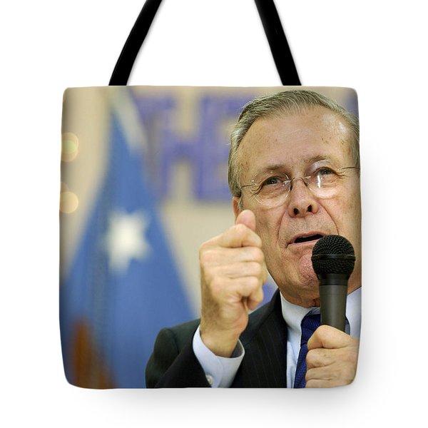 Secretary Of Defense Donald H. Rumsfeld Tote Bag by Stocktrek Images