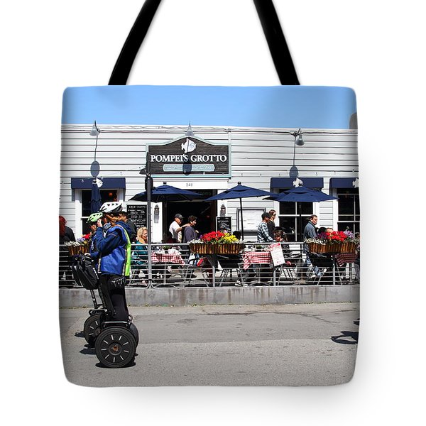 Segway Patrol At Pompeis Grotto Restaurant . Fishermans Wharf . San Francisco California . 7d14198 Tote Bag by Wingsdomain Art and Photography