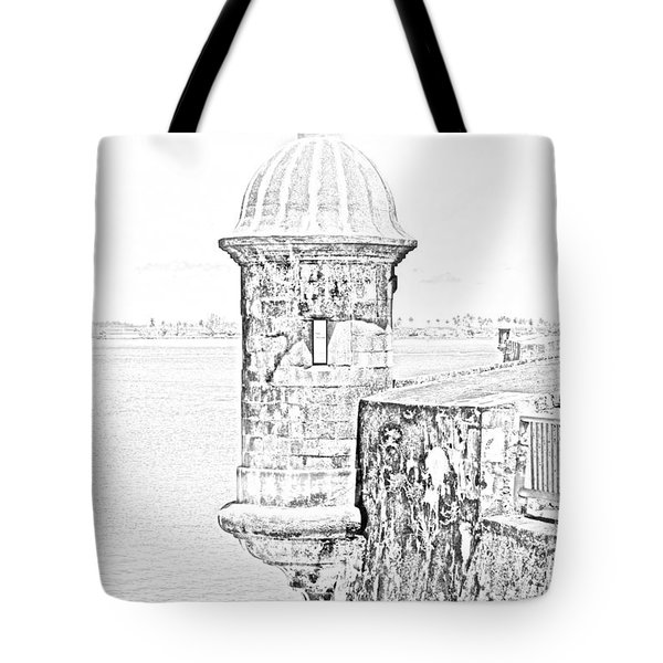 Sentry Tower Castillo San Felipe Del Morro Fortress San Juan Puerto Rico Line Art Black and White Tote Bag by Shawn O'Brien