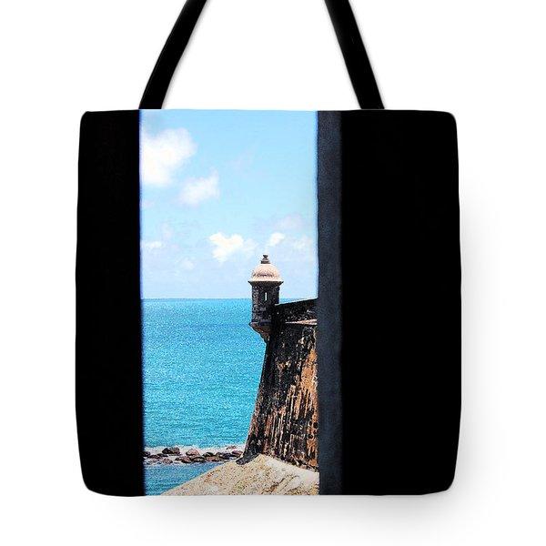 Sentry Tower View Castillo San Felipe Del Morro San Juan Puerto Rico Ink Outlines Tote Bag by Shawn O'Brien