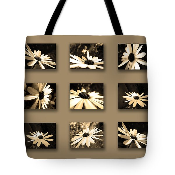 Sepia Daisy Flower Series Tote Bag by Sumit Mehndiratta