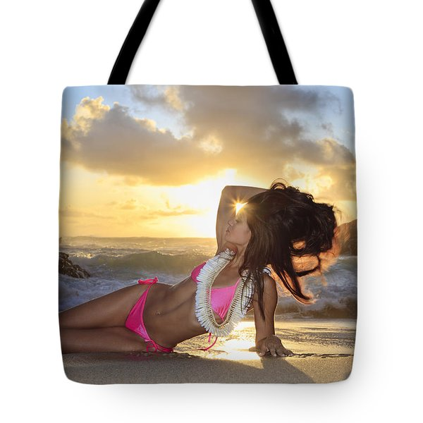 Sexy Woman At Eternity Beach Tote Bag by Tomas del Amo - Printscapes
