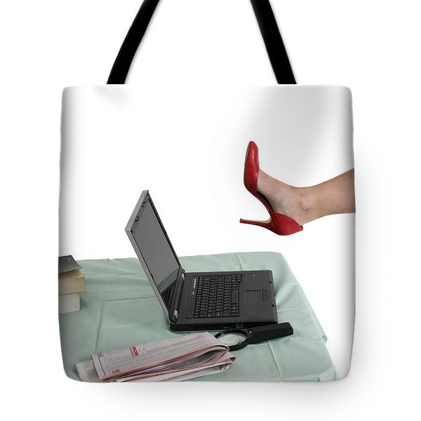 Sexy Woman Kicks A Laptop  Tote Bag by Ilan Rosen
