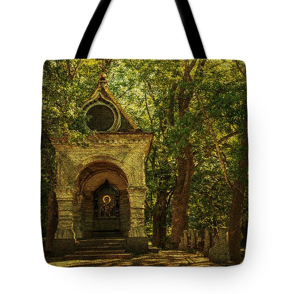 Shaded Chapel. Golden Green Series Tote Bag by Jenny Rainbow