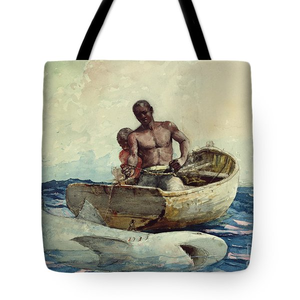 Shark Fishing Tote Bag by Winslow Homer