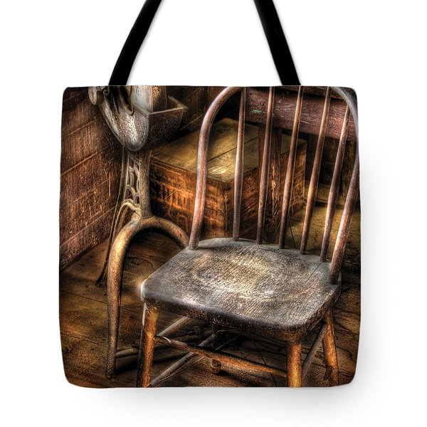 Sharpener - Grinder And A Chair Tote Bag by Mike Savad