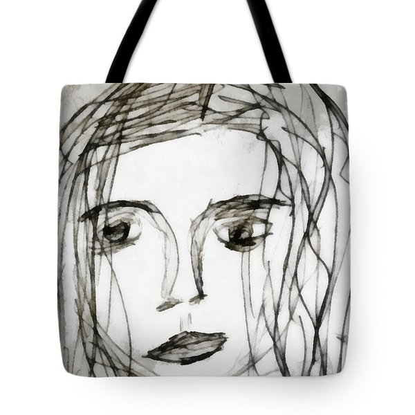 She Sat Alone Tote Bag by Angelina Vick