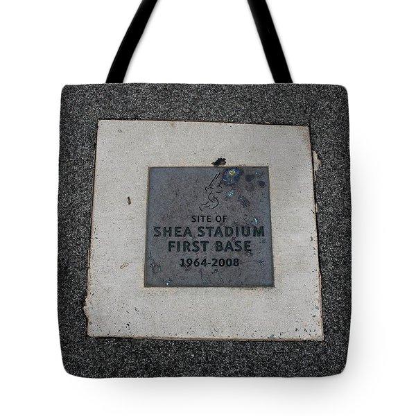 Shea Stadium First Base Tote Bag by Rob Hans