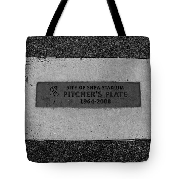 SHEA STADIUM PITCHERS MOUND in BLACK AND WHITE Tote Bag by ROB HANS