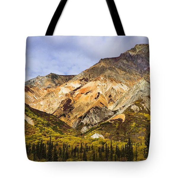 Sheep Mountain Along Glenn Highway Tote Bag by Yves Marcoux