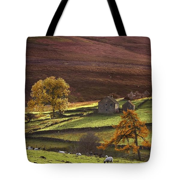 Sheep On A Hill, North Yorkshire Tote Bag by John Short
