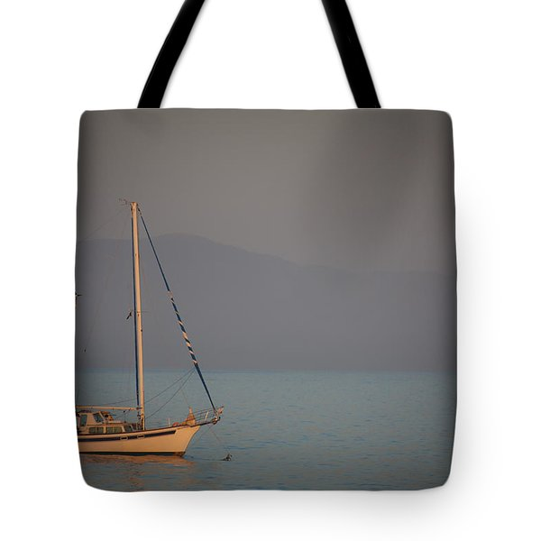 Ship In Warm Light Tote Bag by Ralf Kaiser