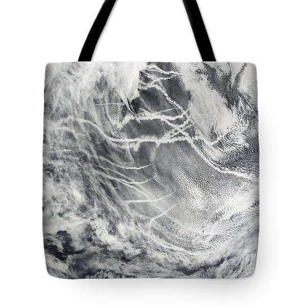Ship Tracks In The Pacific Ocean Tote Bag by Stocktrek Images
