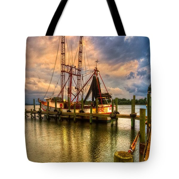 Shrimp Boat at Sunset Tote Bag by Debra and Dave Vanderlaan
