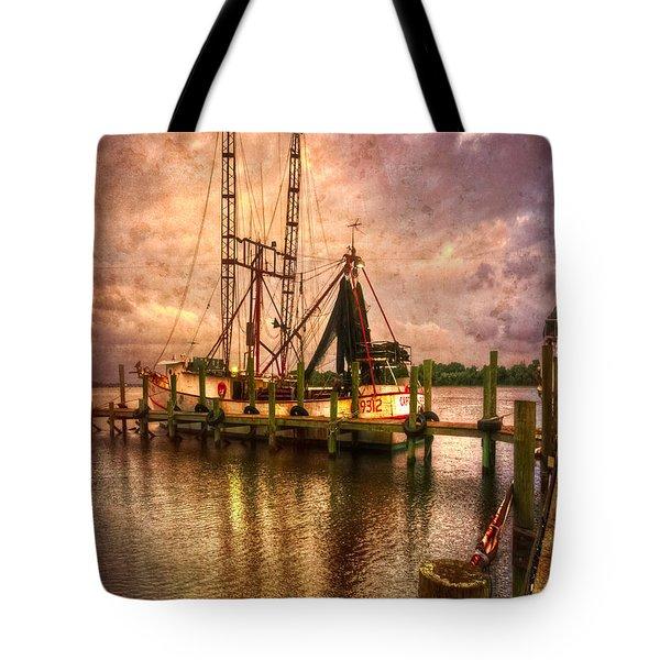 Shrimp Boat At Sunset II Tote Bag by Debra and Dave Vanderlaan