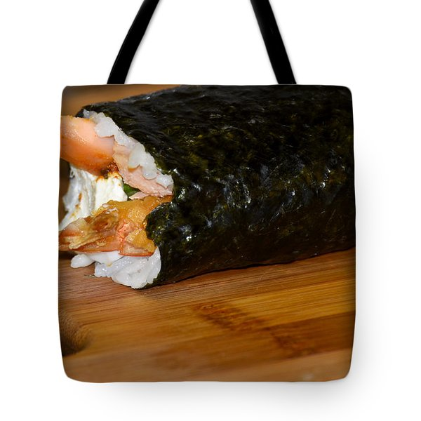 Shrimp Sushi Roll On Cutting Board Tote Bag by Carolyn Marshall