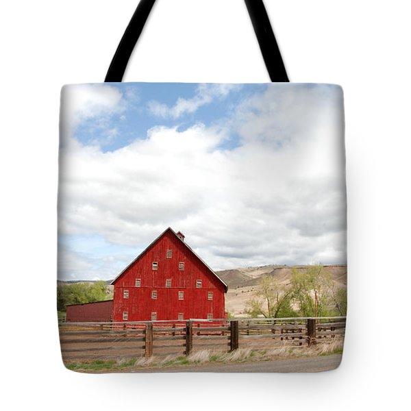Shutters Red Tote Bag by Sara Stevenson