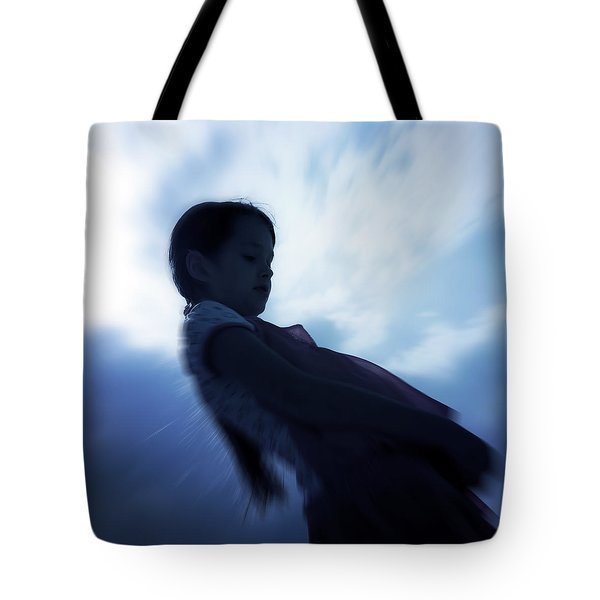 Silhouette Of A Girl Against The Sky Tote Bag by Joana Kruse