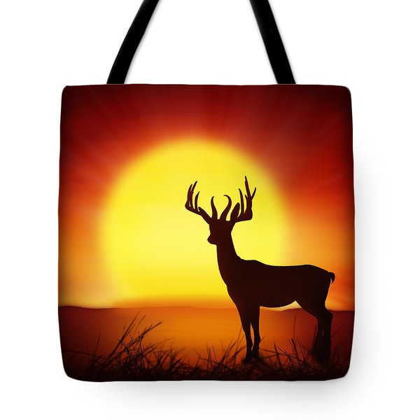 Silhouette Of Deer With Big Sun Tote Bag by Setsiri Silapasuwanchai