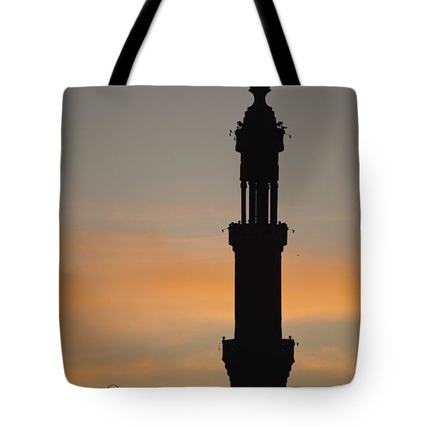 Silhouette Of Mosque At Dawn Tote Bag by Axiom Photographic