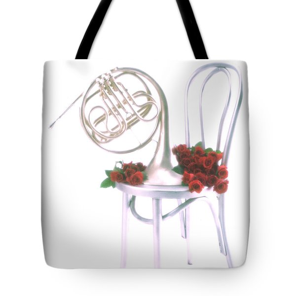 Silver French horn on silver chair Tote Bag by Garry Gay