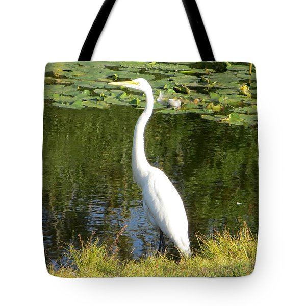 Silver Heron Tote Bag by Sonali Gangane