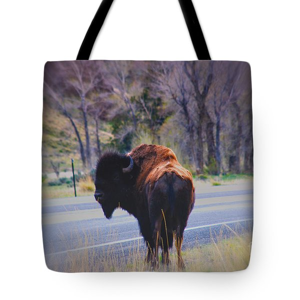 Single Buffalo in Yellowstone NP Tote Bag by Susanne Van Hulst