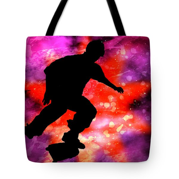 Skateboarder In Cosmic Clouds Tote Bag by Elaine Plesser