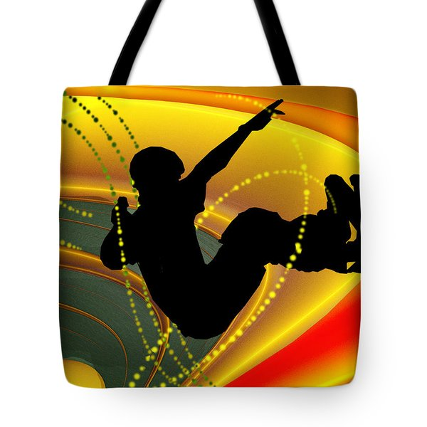 Skateboarding In The Bowl Silhouette Tote Bag by Elaine Plesser